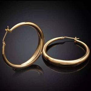 """New 18K Yellow Gold 1.5"" Round Hoop Earrings"""